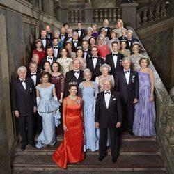 Carlos Gustavo de Suecia con la realeza invitada a su 70 cumpleaños