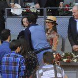 Victoria de Marichalar saluda a Rafa Nadal ante el Rey Juan Carlos y la Infanta Elena en el Madrid Open 2016