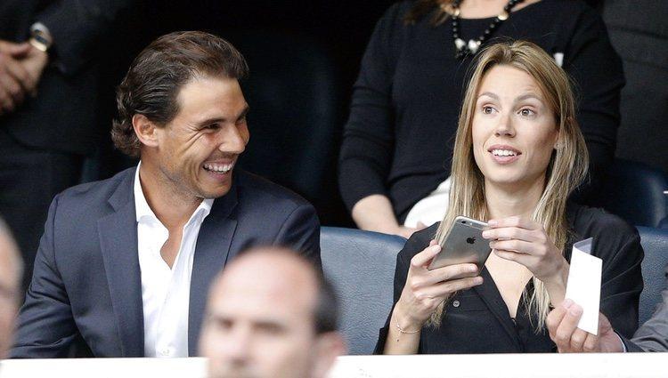 Rafa Nadal y su hermana Maribel en el partido de Champions Real  Madrid-Manchester City