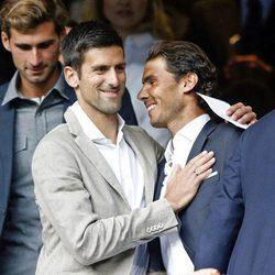 Novak Djokovic y Rafa Nadal en el partido de Champions Real  Madrid-Manchester City