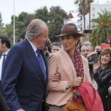 El Rey Juan Carlos  y la Infanta Elena en la Feria del Caballo de Jerez de la Frontera