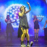 Barei actuando en el Euroclub de Estocolmo antes del Festival de Eurovisión 2016