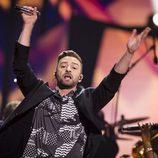 Justin Timberlake actuando en el Dress Rehearsal del Festival de Eurovisión 2016