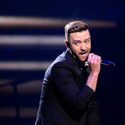 Justin Timberlake durante su actuación en el Dress Rehearsal del Festival de Eurovisión 2016