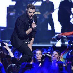 Justin Timberlake durante su actuación en la final de Eurovisión 2016