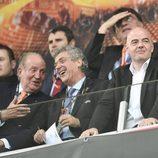 El Rey Juan Carlos en la final de la Europa League 2016 entre el Sevilla y el Liverpool