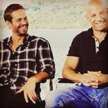 Paul Walker y Vin Diesel en el rodaje de 'Fast and Furious 7'