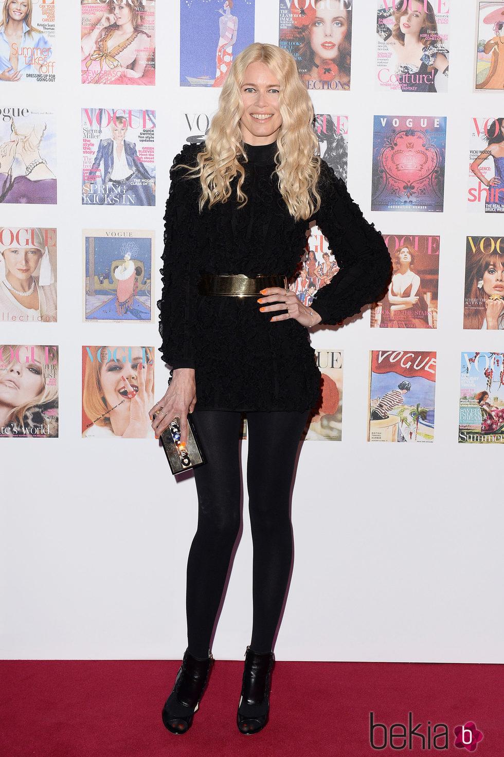 Claudia Schiffer en la fiesta del 100 aniversario de Vogue en Londres