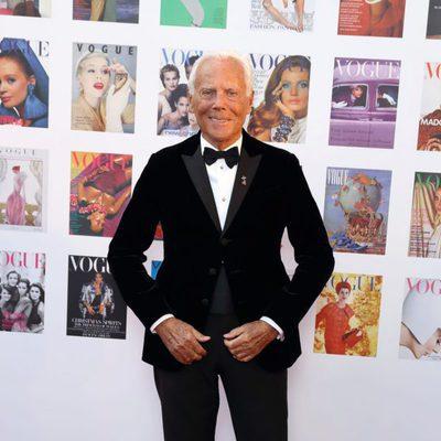 Giorgio Armani en la fiesta del 100 aniversario de Vogue en Londres