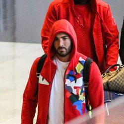 Karim Benzema en el aeropuerto de Los Angeles