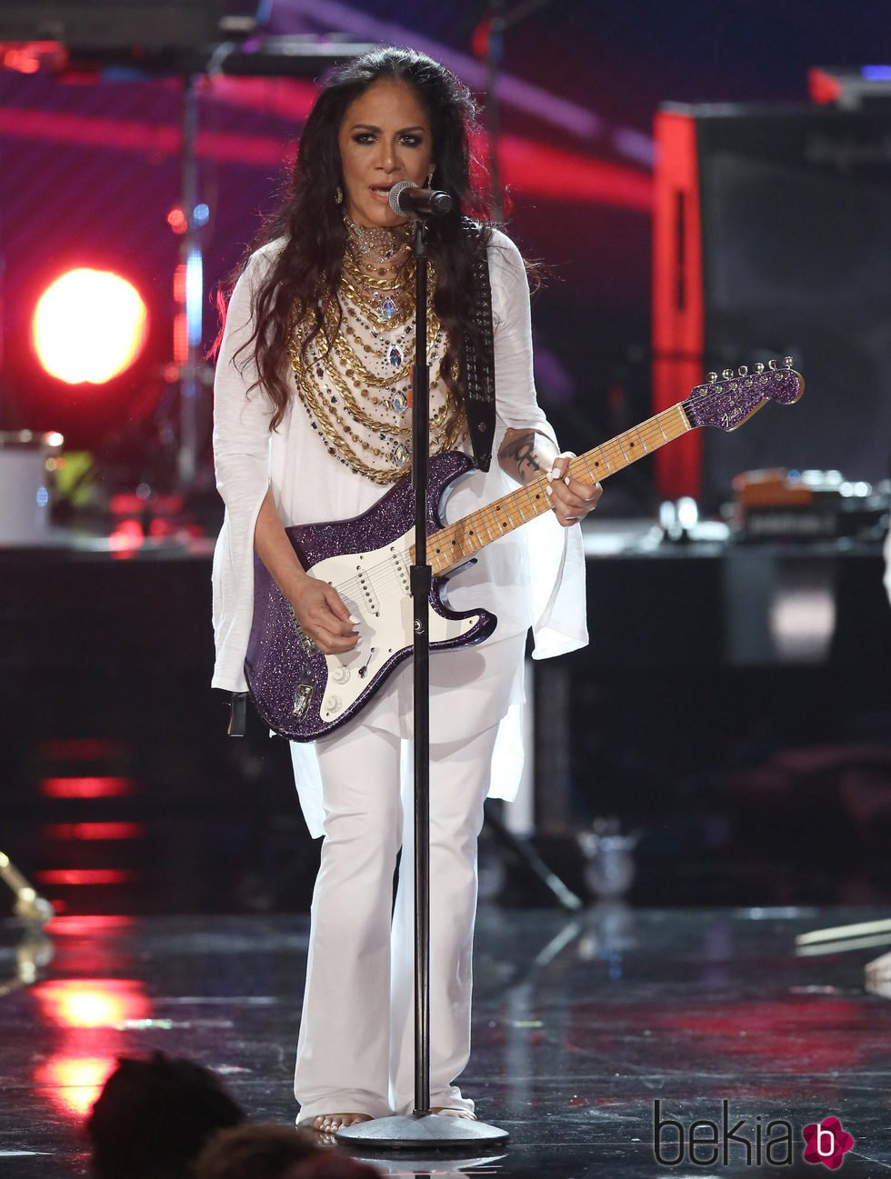 Sheila E. durante su actuación en los BET Awards 2016