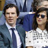 Benedict Cumberbatch y su mujer Sophie Hunter en la final de Wimbledon 2016