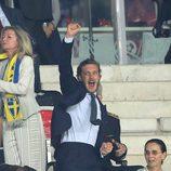 Pierre Casiraghi celebra un gol en un partido de fútbol