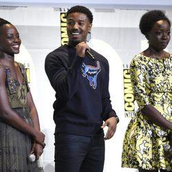 Lupita Nyong'o, Michael B. Jordan y Danai Gurira en la Comic-Con de San Diego 2016