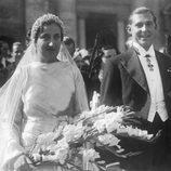 Los Condes de Barcelona en su boda