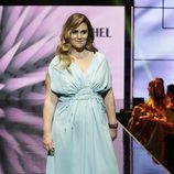 Carlota Corredera con un vestido largo y vaporoso en la Sálvame Fashion Week