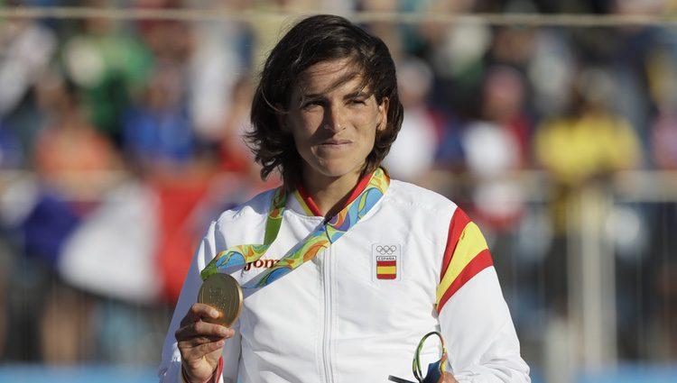 Maialen Chourraut en el podio de Río 2016