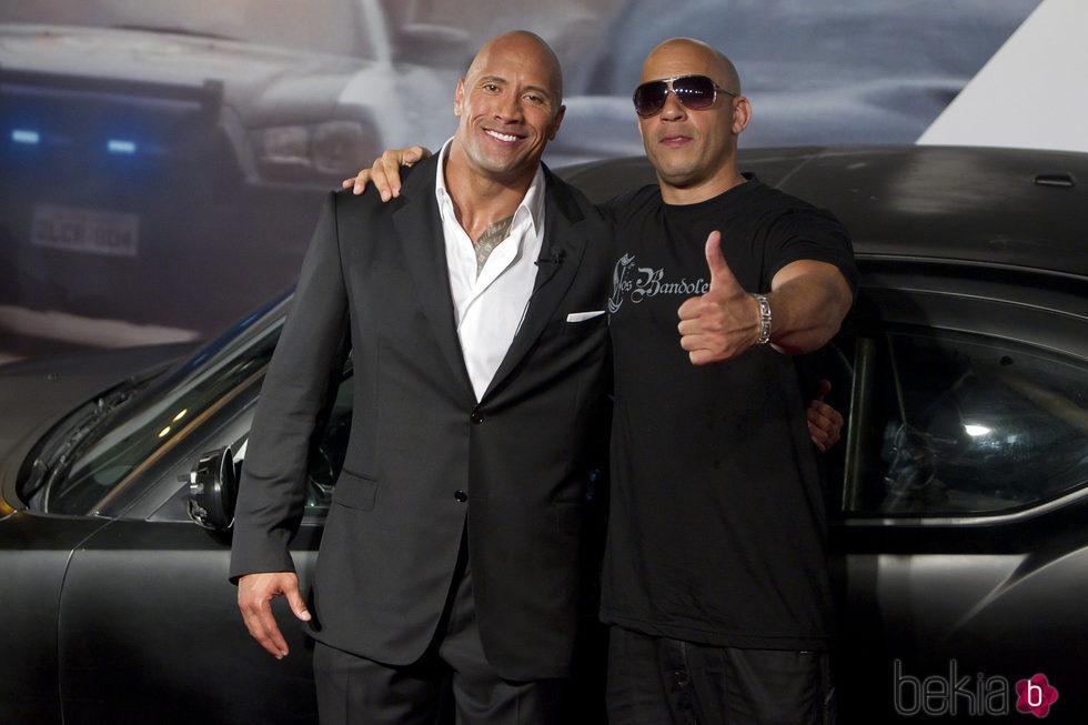 Dwayne Johnson y Vin Diesel en la Premiere de 'Fast & Furious 5'