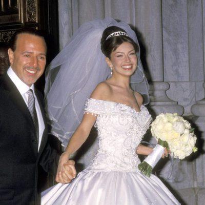 Tommy Mottola y Thalía el día de su boda