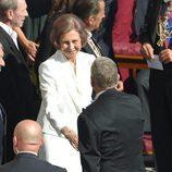 La Reina Sofía saluda a las delegaciones extranjeras en la Misa de Canonización de la Madre Teresa de Calcuta