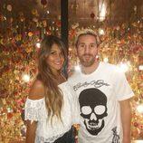 Leo Messi y Antonella Roccuzzo en un restaurante en Barcelona