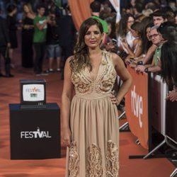 Lucía Jiménez en la alfombra del estreno de la serie 'La Sonata del silencio' en el Festival de televisión de Vitoria 2016