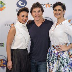 Manel Fuentes,  Chenoa y Rosa Lopez en la presentación del programa 'Tu cara me suena' en el Festval 2016
