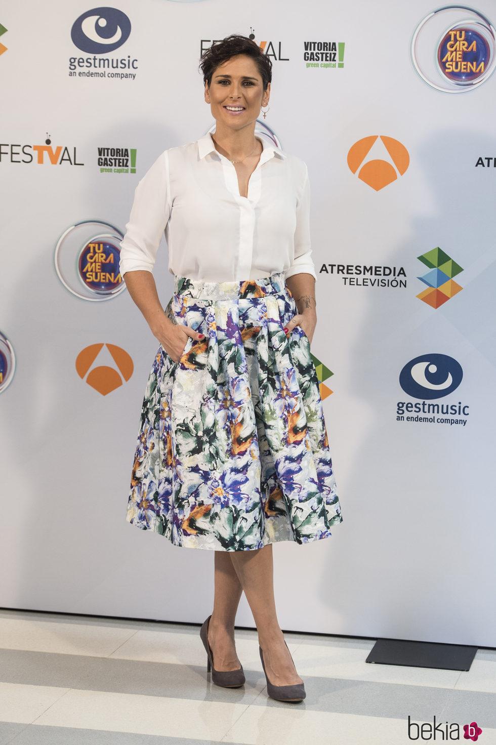 Rosa López en la presentación del programa 'Tu cara me suena' en el Festval 2016