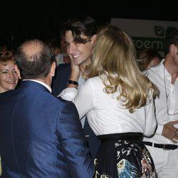Norma Duval saludando a su hijo Christian en el desfile de Félix Ramiro en Madrid Fashion Show Men