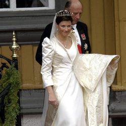 Marta Luisa de Noruega vestida de novia
