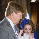 El rey Guillermo Alejandro de Holanda y la princesa Ana María de Borbón y Parma en el bautizo de Carlos de Borbón y Parma