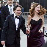 María Valderde junto a su novio Gustavo Dudamel en el concierto filarmónico de Walt Disney