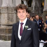Javier Veiga a su llegada a su boda con Marta Hazas en Santander