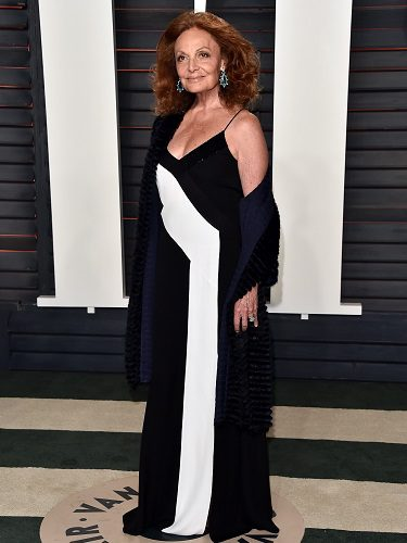 La diseñadora DVF en la fiesta Vanity Fair de los Oscar 2016