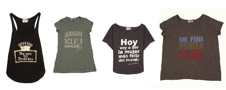 Las camisetas con mensaje son uno de sus platos fuerte