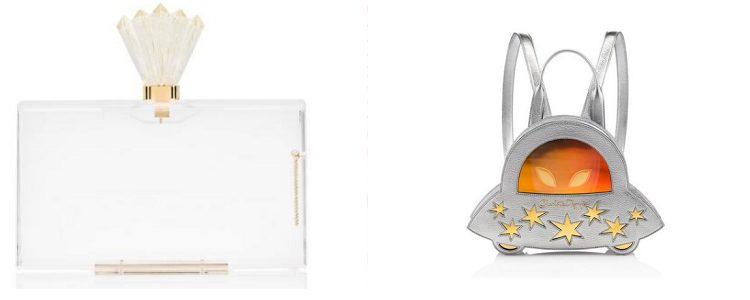 Clutch Pandora y mochila en forma de nave espacial