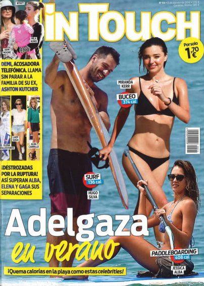 En In Touch famosos como Hugo Silva, Miranda Kerr y Jessica Alba queman calorías